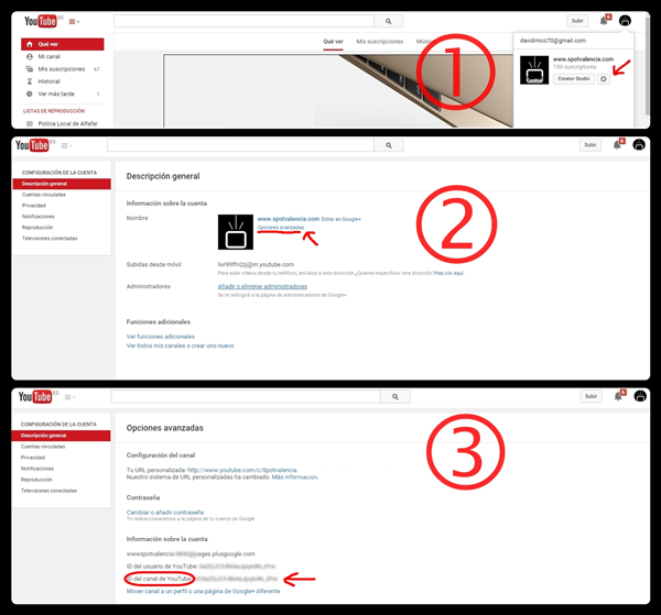 Como conseguir la ID de nuestro canal de Youtube