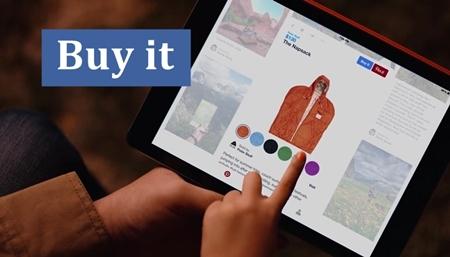 Comprar en Pinterest, el nuevo pin de color azul.